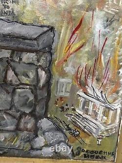 Vintage General Sherman OUTSIDER FOLK ART Large Painting Civil War Atlanta